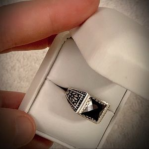 Sz 10.5 Solid 925 Silver RING Black Gold Hematite